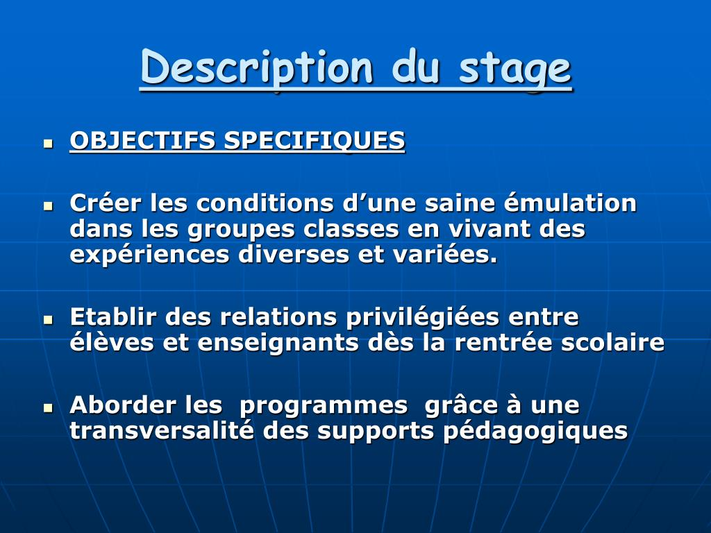 Description du stage