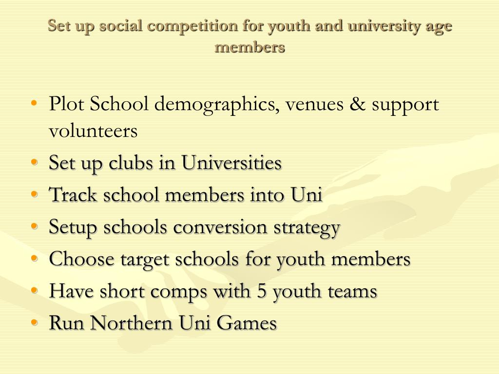 Set up social competition for youth and university age members
