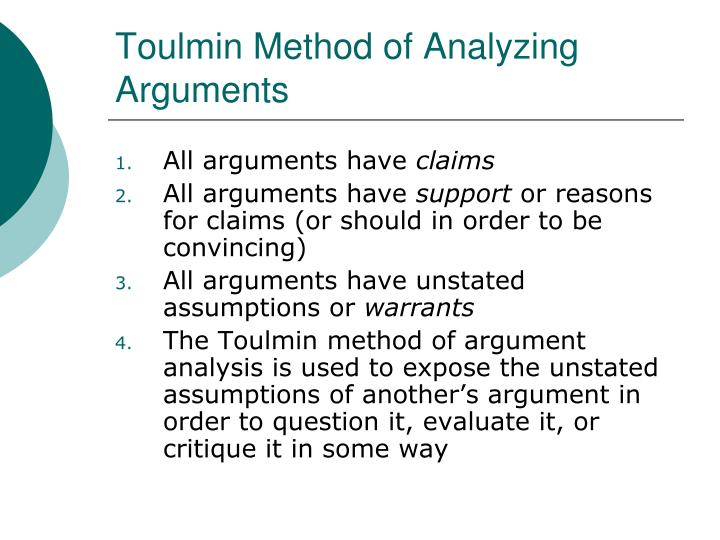 Toulmin Method of Analyzing Arguments