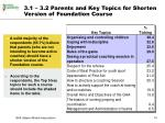 3 1 3 2 parents and key topics for shorten version of foundation course