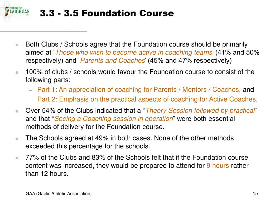 3.3 - 3.5 Foundation Course