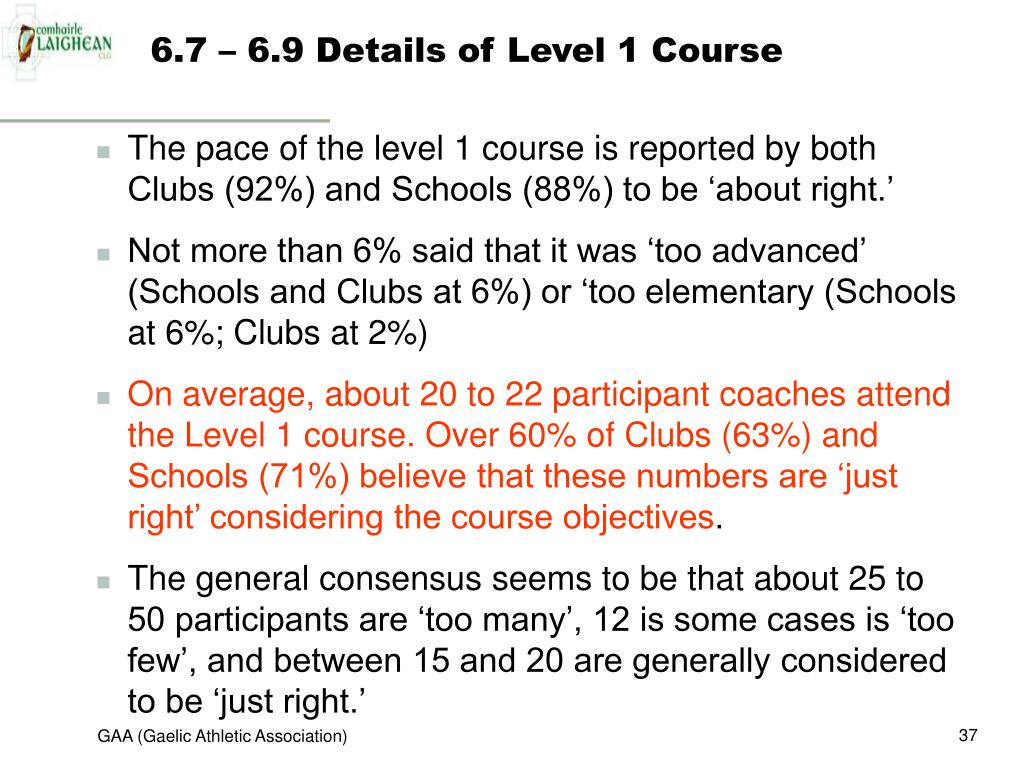 6.7 – 6.9 Details of Level 1 Course