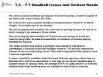 7 3 7 7 handball issues and content needs