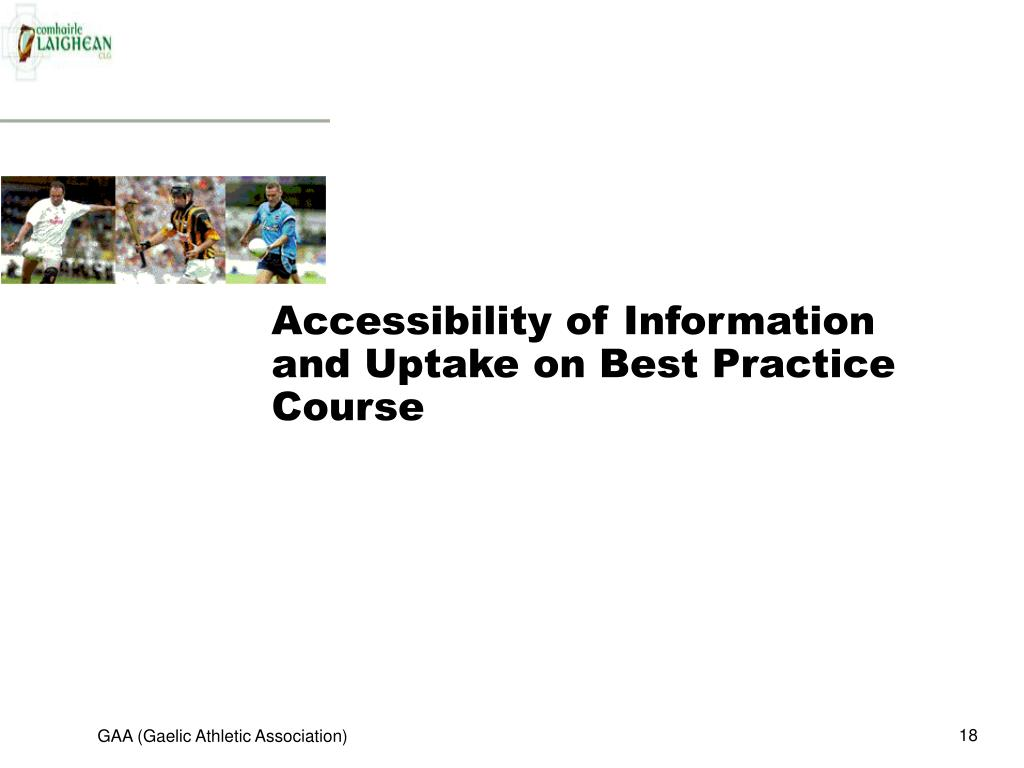 Accessibility of Information and Uptake on Best Practice Course