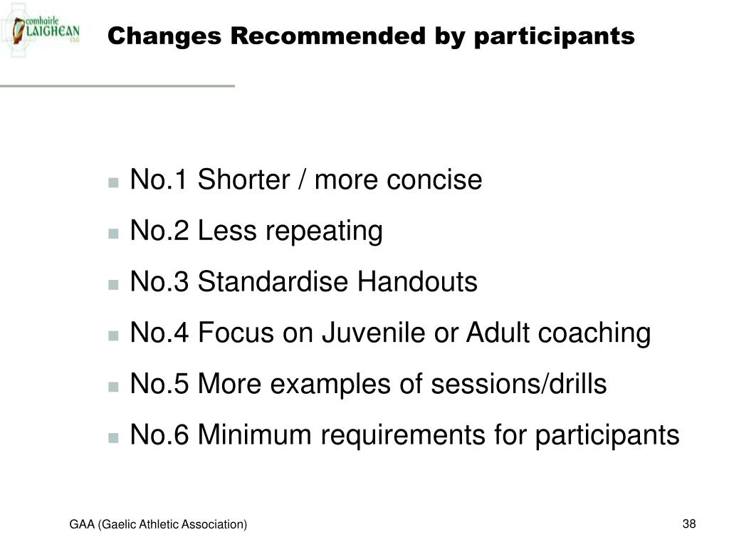 Changes Recommended by participants