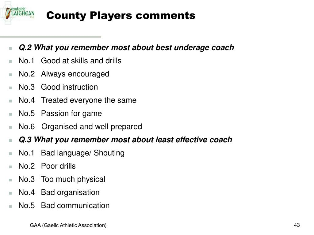 County Players comments