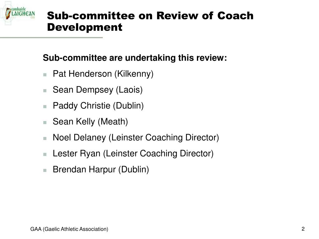 Sub-committee on Review of Coach Development