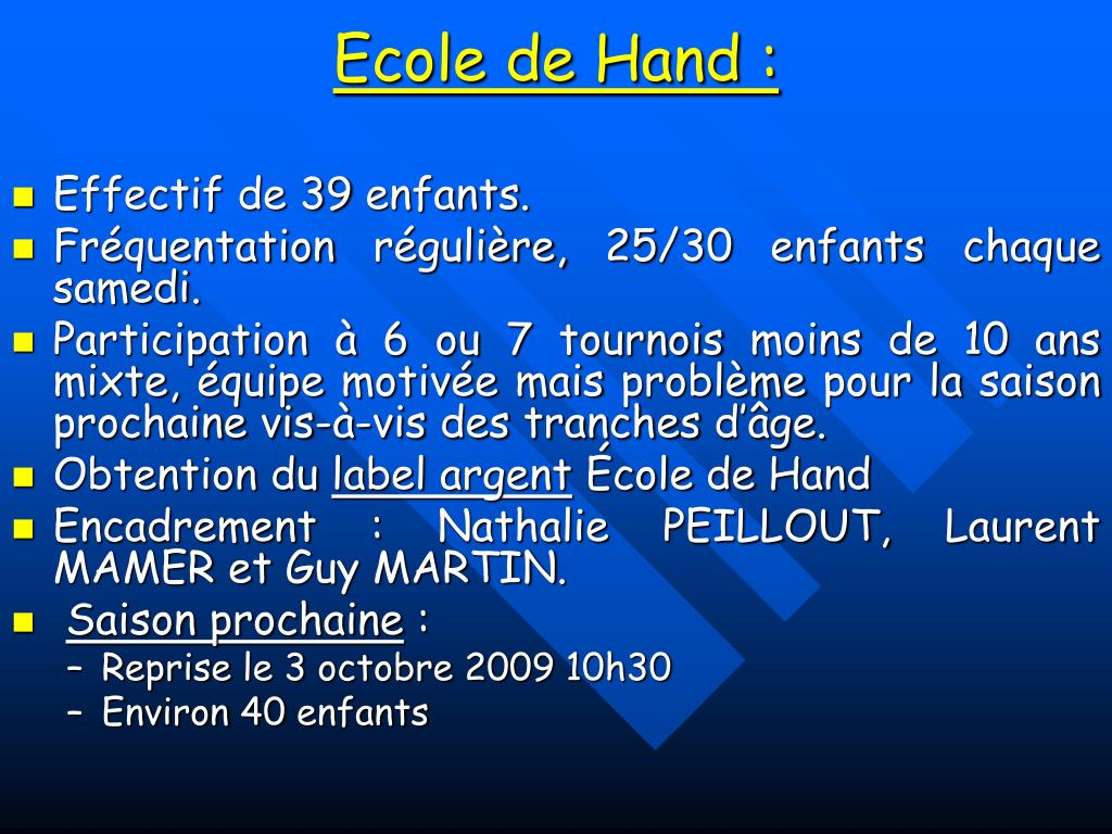 Ecole de Hand :