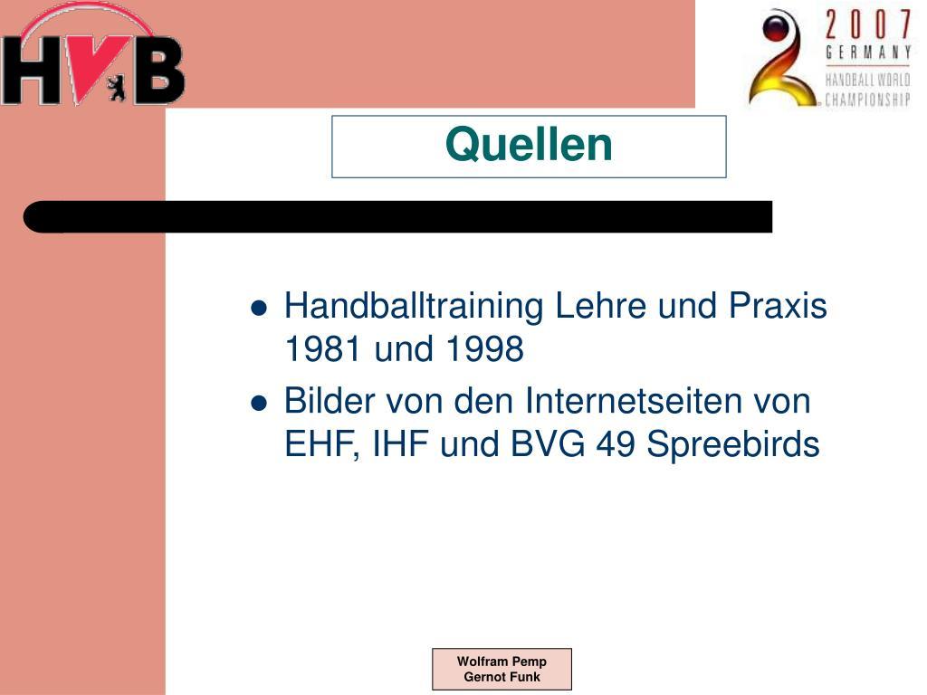 Handballtraining Lehre und Praxis 1981 und 1998