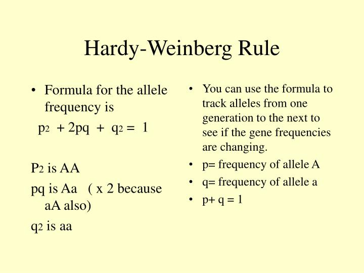 Formula for the allele frequency is