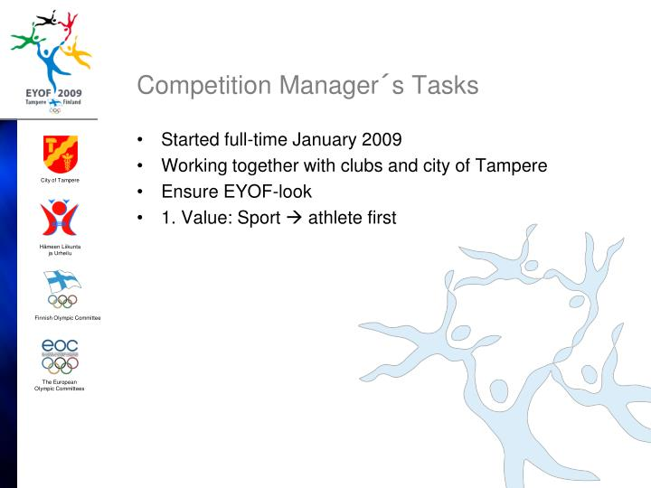 Competition manager s tasks