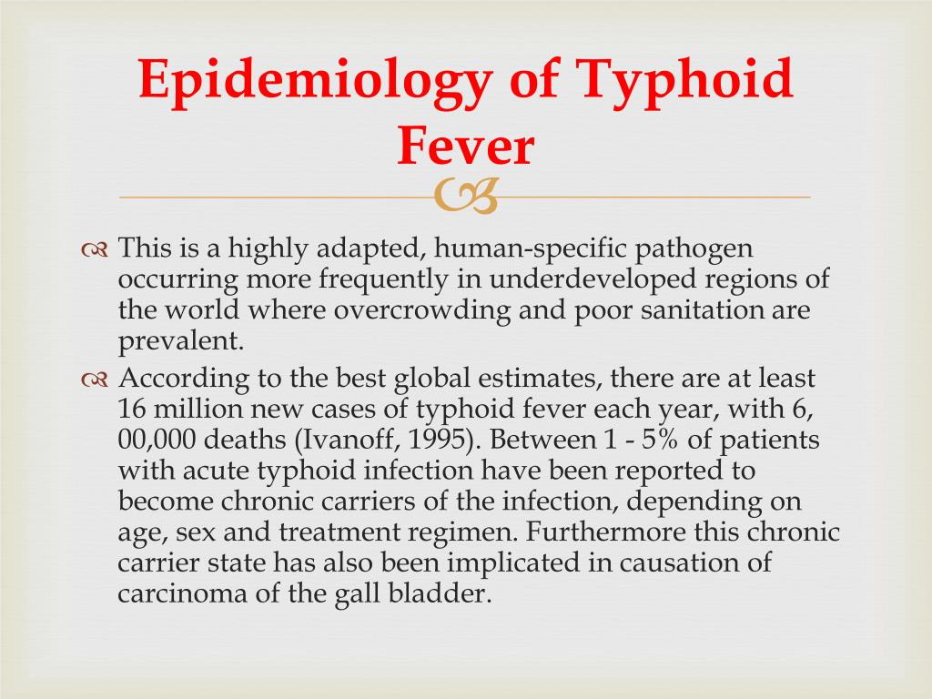 Epidemiology of Typhoid Fever