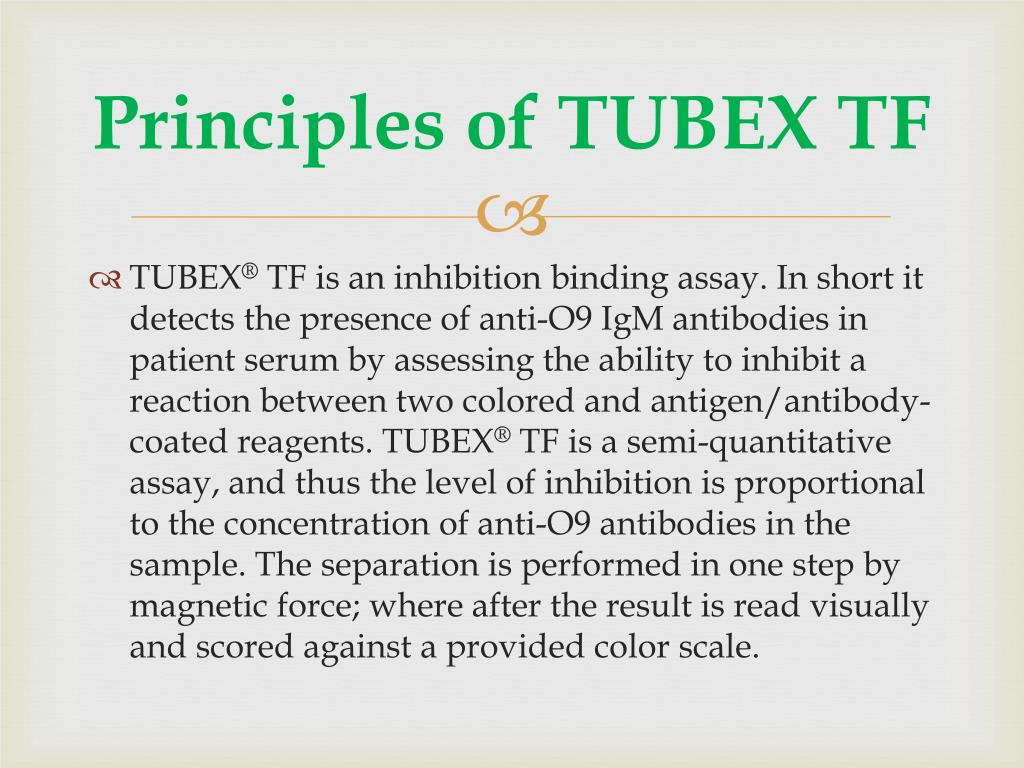 Principles of TUBEX TF