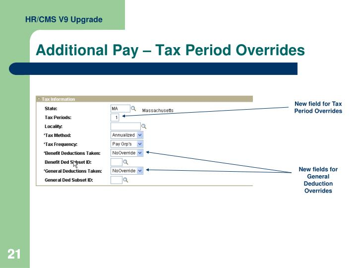 Additional Pay – Tax Period Overrides