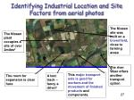 identifying industrial location and site factors from aerial photos