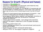 reasons for growth physical and human