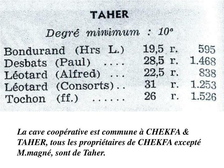 La cave coopérative est commune à CHEKFA & TAHER, tous les propriétaires de CHEKFA excepté M.magné, sont de Taher.