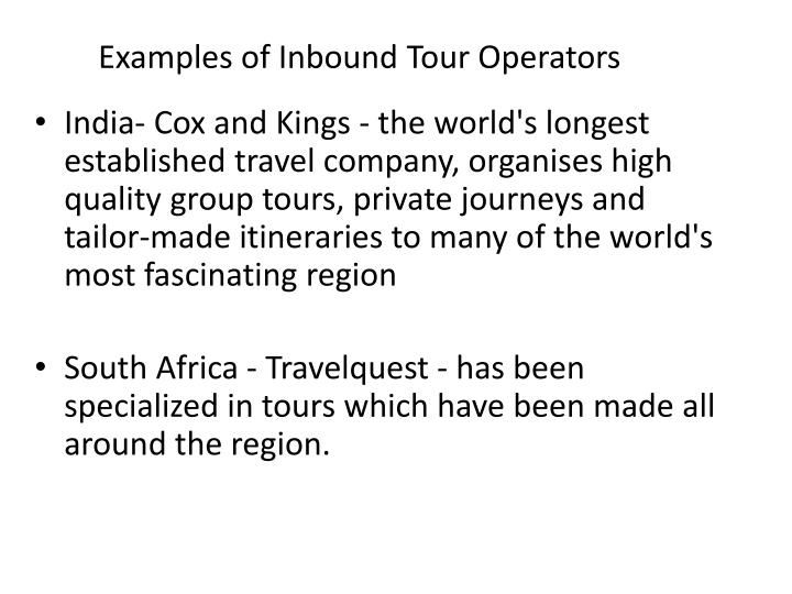 Examples of Inbound Tour Operators
