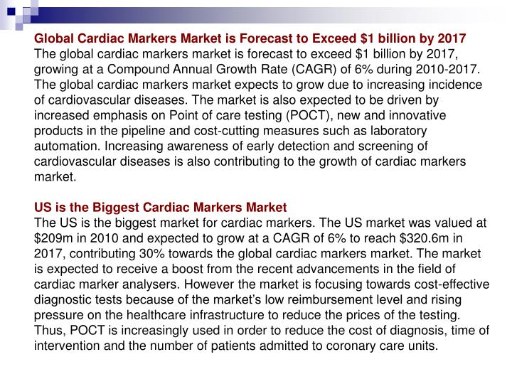 Global Cardiac Markers Market is Forecast to Exceed $1 billion by 2017
