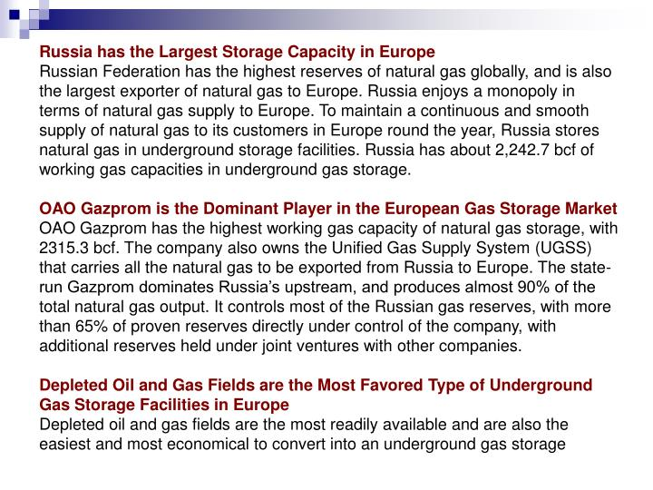 Russia has the Largest Storage Capacity in Europe