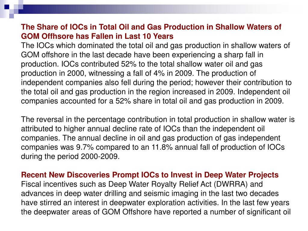 The Share of IOCs in Total Oil and Gas Production in Shallow Waters of GOM Offhsore has Fallen in Last 10 Years