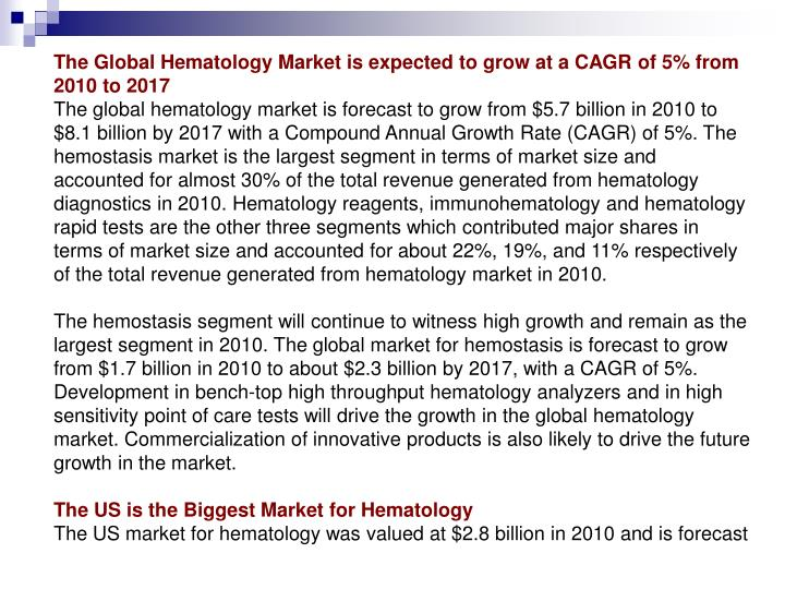 The Global Hematology Market is expected to grow at a CAGR of 5% from 2010 to 2017