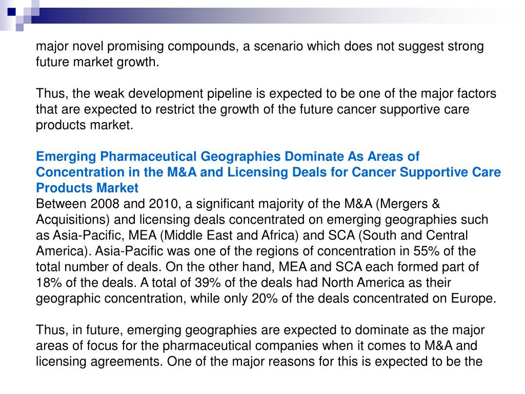 major novel promising compounds, a scenario which does not suggest strong future market growth.