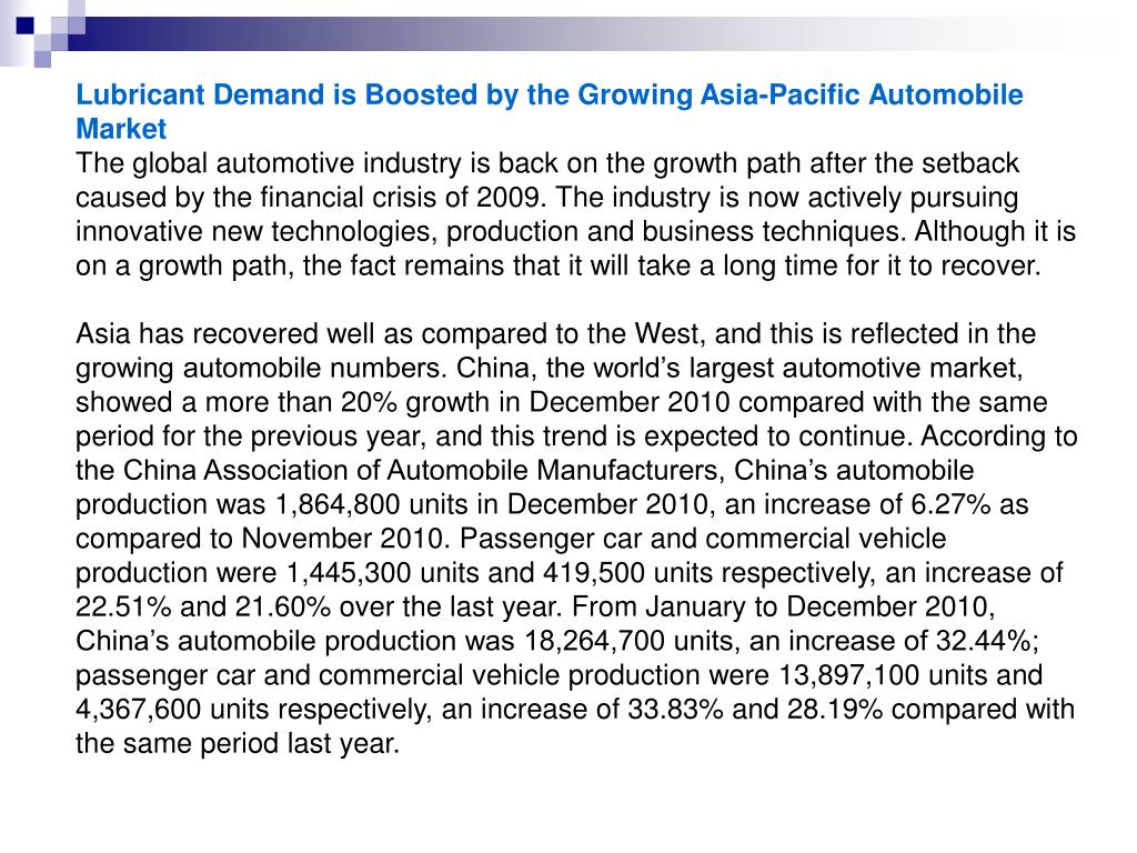 Lubricant Demand is Boosted by the Growing Asia-Pacific Automobile Market