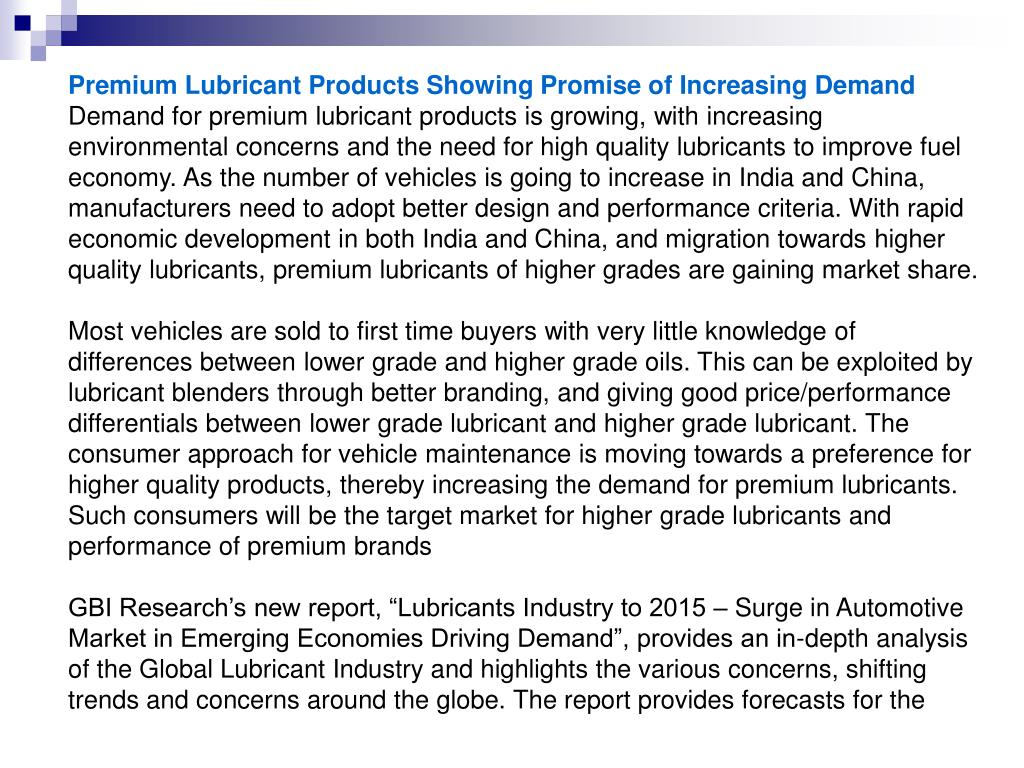 Premium Lubricant Products Showing Promise of Increasing Demand