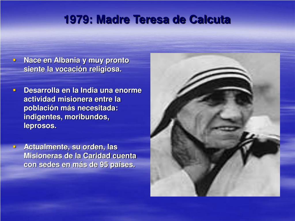 1979: Madre Teresa de Calcuta