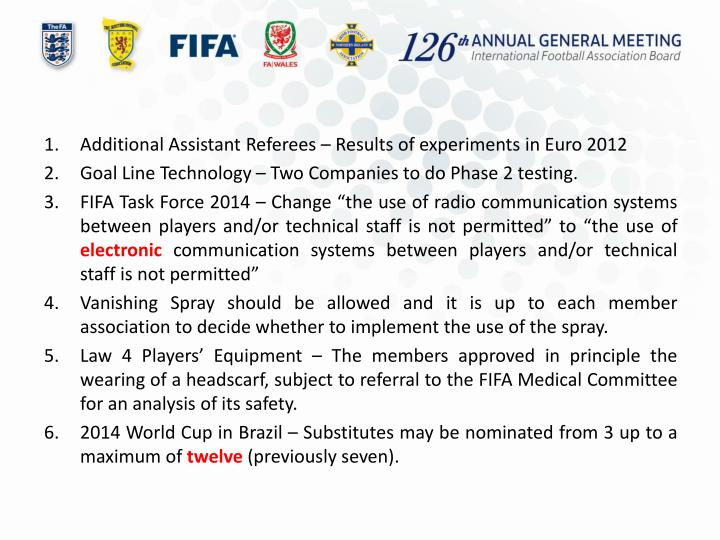 Additional Assistant Referees – Results of experiments in Euro 2012