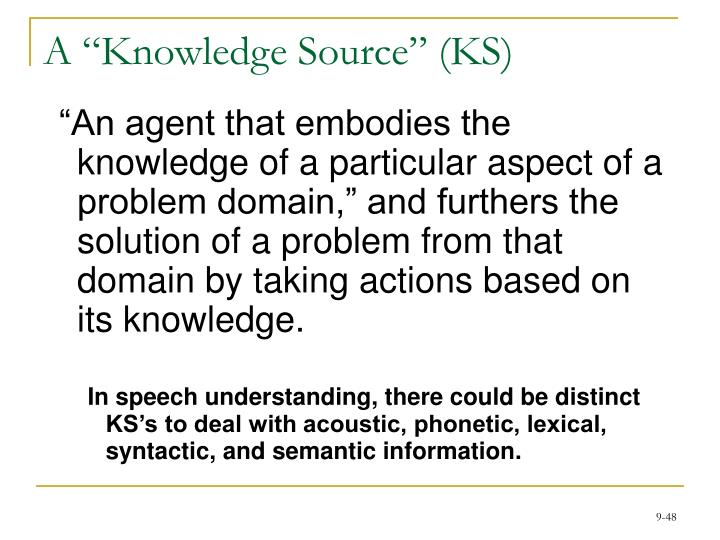 "A ""Knowledge Source"" (KS)"