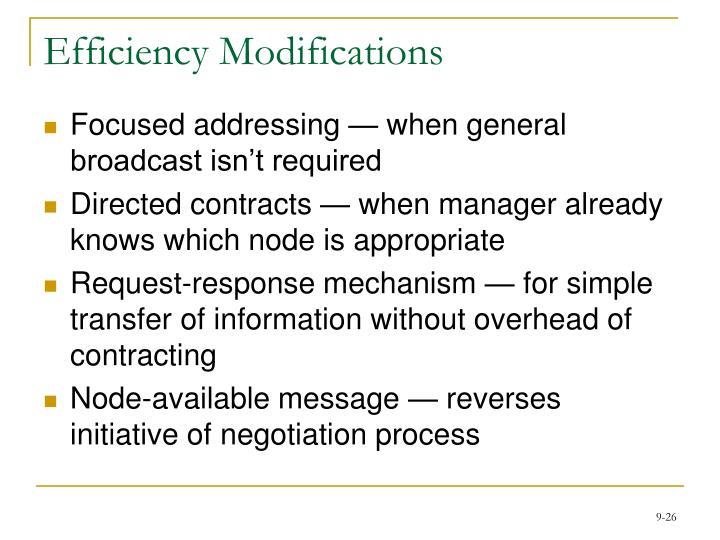 Efficiency Modifications
