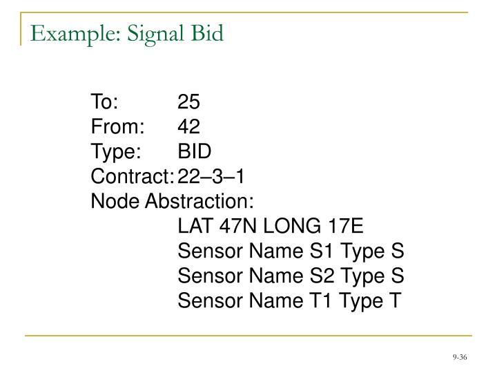 Example: Signal Bid
