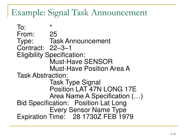 Example: Signal Task Announcement