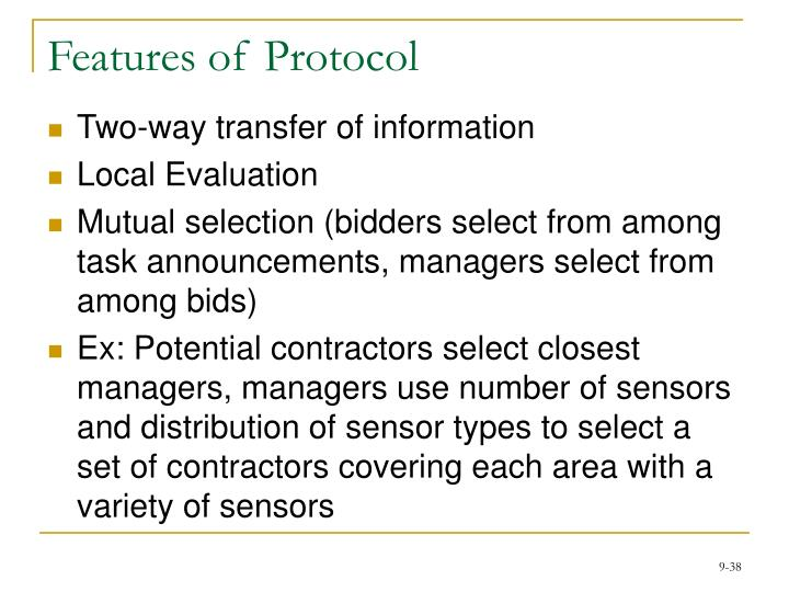 Features of Protocol