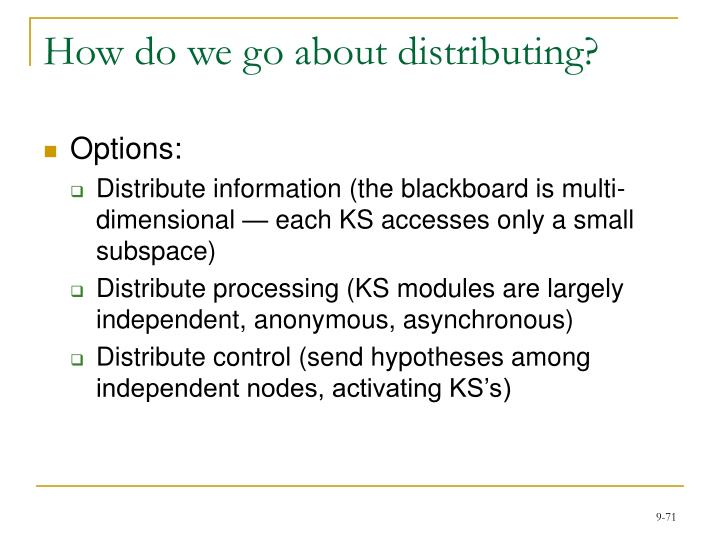 How do we go about distributing?