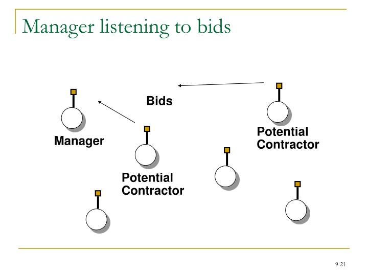 Manager listening to bids