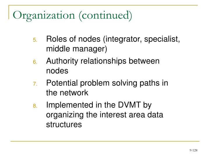 Organization (continued)