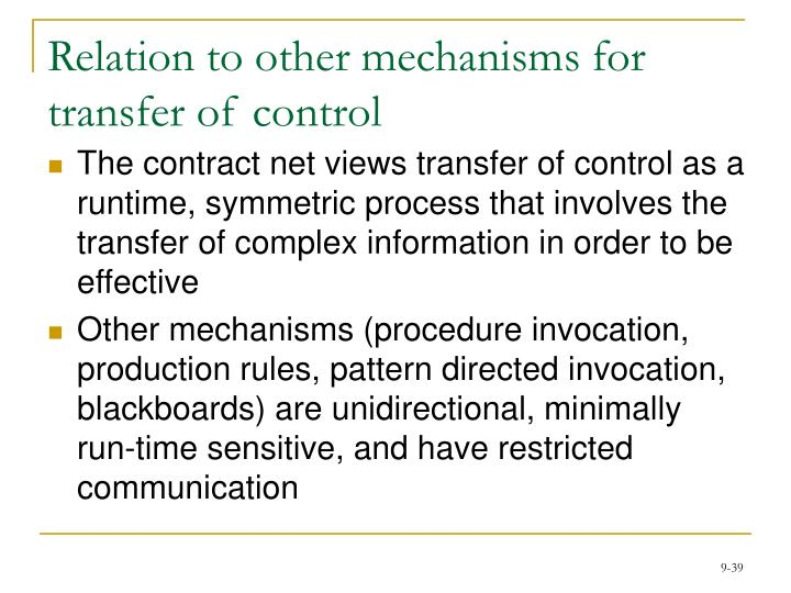 Relation to other mechanisms for transfer of control