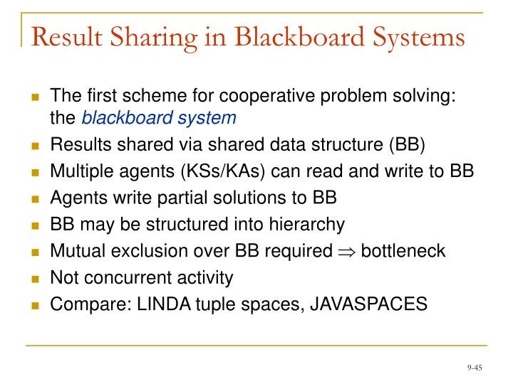 Result Sharing in Blackboard Systems