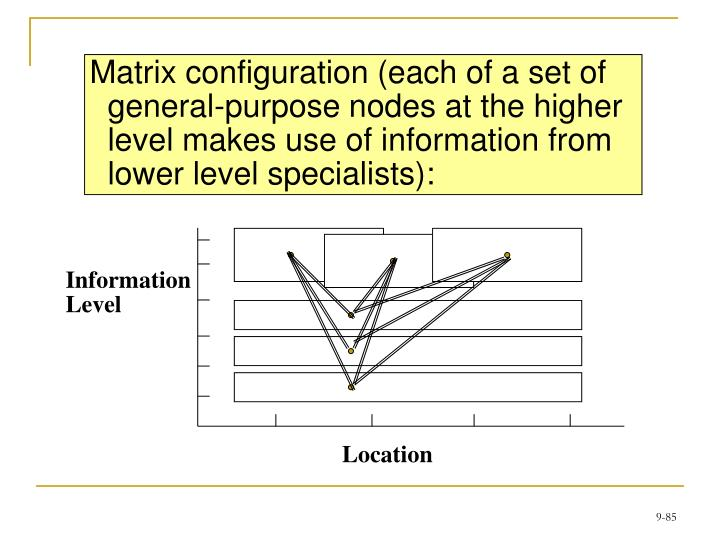 Matrix configuration (each of a set of general-purpose nodes at the higher level makes use of information from lower level specialists):
