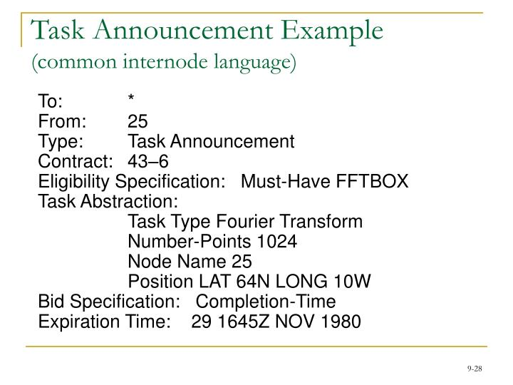 Task Announcement Example