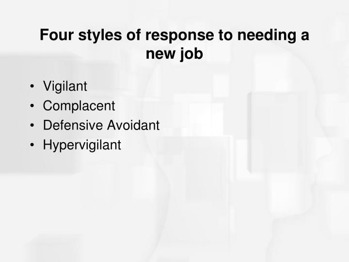 Four styles of response to needing a new job