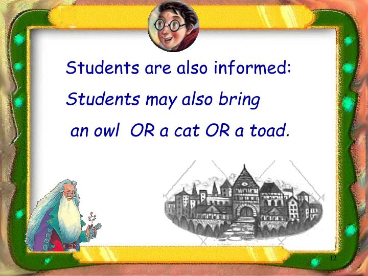 Students are also informed: