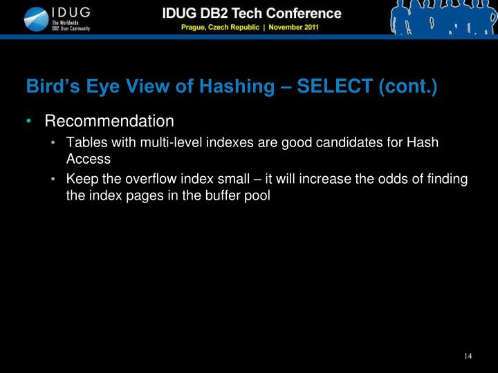 Bird's Eye View of Hashing – SELECT (cont.)