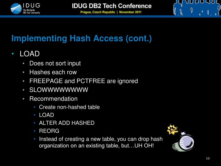 Implementing Hash Access (cont.)