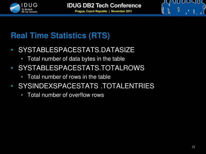 Real Time Statistics (RTS)