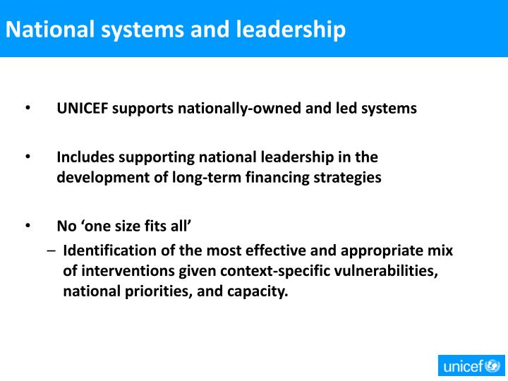 National systems and leadership