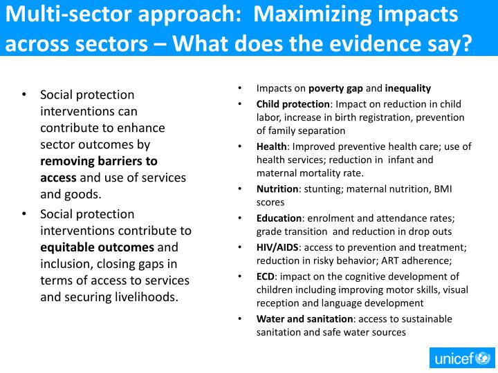 Multi-sector approach:  Maximizing impacts across sectors – What does the evidence say?